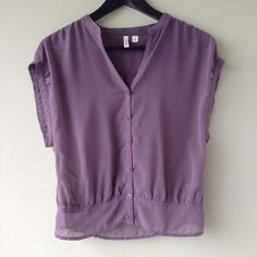 Frenchi Sheer Sleeveless Button-Up Top Light plum sheer sleeveless button-up top by Frenchi. Frenchi Tops