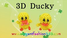 Rainbow Loom 3D Duck/Ducky charms - How to Loom Bands tutorial by Elegant Fashion 360.
