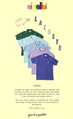 Bella la presentazione del brand e la reinterpretazione illustrata del famoso logo-coccodrillo.