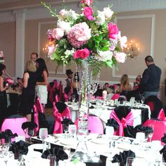 Hot pink flower centerpiece with crystal strands