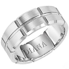 7mm comfort fit wedding band with satin finish from Diana. Available in Platinum, 14K White Gold, 14K Yellow Gold, 18K White Gold.