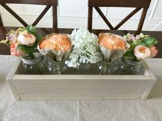 Make this quick and easy DIY 5 Mason Jar Planter Box for just $6.50. Makes great home decor, gifts, craft party projects, wedding centerpieces, and more. Can be sold at craft fairs and online too. #CraftFair #PartyCraft #LEDLights #MasonJars