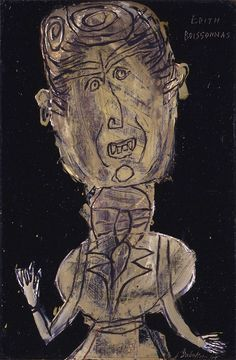 """Jean DUBUFFET, Edith Boissonnas with Scarf at her Neck, 1947, oil on paper - """"It is impossible to say definitely that this subtly androgynous figure is male or female. The uninhibited brushwork in this portrait evokes a child's scribblings. The artist who painted this work was Jean Dubuffet (1901-1985). This French artist was born in Le Havre in 1901. In 1918, he moved to Paris to study art at the Académie Julian. Bored by academic lectures, he left the school the following year"""