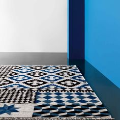 Gandia Blasco Palermo Blue and Black Kilim Rug | Patterned Rugs | Rugs | Living Room | Heal's