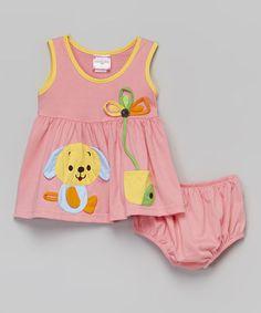 Look at this #zulilyfind! Pink Puppy Dress & Diaper Cover - Infant #zulilyfinds