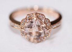 Vintage Floral Design! HALO Cushion Cut Morganite Ring Pave Diamonds Ring 14K Rose/White/Yellow Gold Engagement Promise Wedding Ring on Etsy, $548.00
