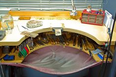 "Jewellers Bench of nigelt46 via flickr. Looks as though the second ""tool space"" could be made easily as a Franken Bench modification."