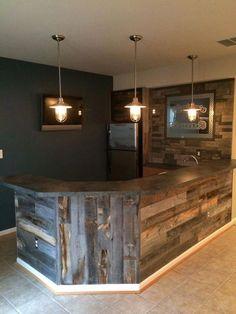 Reclaimed weathered wood in 2019 man cave basement bar desig Basement Bar Designs, Home Bar Designs, Rustic Basement Bar, Cozy Basement, Basement Bathroom, Industrial Basement, Man Cave Basement, Modern Basement, Kids Basement