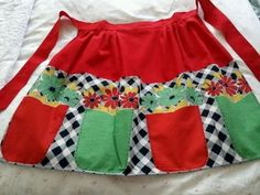 Vintage Half Christmas Apron-Red,Green-Daisy Flowers-Dutch Style Linen/Rayon-  | eBay