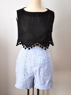 Womens High Waist Vintage Inspired Cotton Light Blue Gingham Shorts
