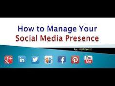 How to Manage Your Social Media Presence via this SlideShare Deck Preso Top Social Media, Social Web, Social Link, Social Media Channels, Social Networks, Seo Marketing, Content Marketing, Internet Marketing, Social Media Marketing