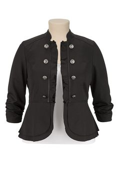 Military Blazer with Ruffled Edge available at #Maurices