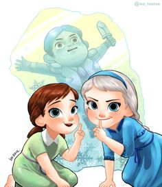 Elsa, Anna, and me playing as children
