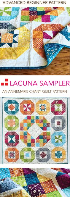 Lacuna Sampler Quilt Pattern by AnneMarie Chany. Advanced Beginner Pattern introduces 6 Basic Piecing Skills in sampler form. May be used as short 6-8 month long Block of the Month Program.