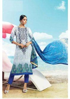 Off White, Blue Cotton Salwar Kameez, - £74.00, #IndianSalwarKameez #FashionUK #DesignerDresses #Shopkund