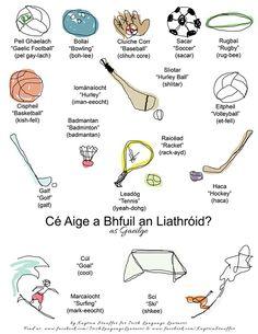 Spóirt (Sports) Scottish English, Scottish Gaelic, Gaelic Irish, Irish Gaelic Language, Gaelic Words, Volleyball, Basketball, Badminton, Bowling