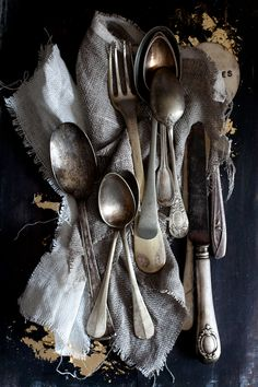 "Silverware and more silverware. Previous pinner says: ""I am a vintage silverware hoarder, no joke. You should see my stash""."
