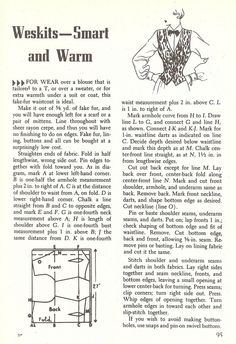 Weskit from Sewing Magic by Mary Brooks Picken, 1952