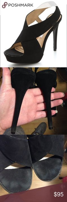 """Sophisticated black DVF heels Amazing DVF platforms. They are black suede. The heel is just under 5.5"""". They are a little conditioned on the heels and have toe prints (price reflects condition). No actual structural damage though. Perfect for the office . Make an offer but please no low balling ❤️ Diane von Furstenberg Shoes Platforms"""