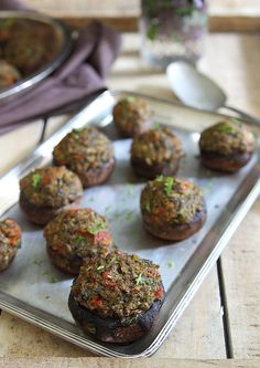 Olive and Roasted Garlic Tapenade Stuffed Mushrooms