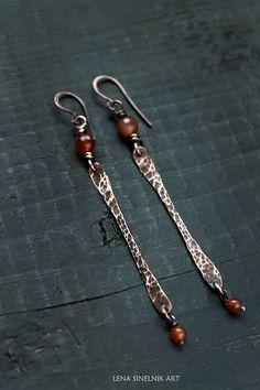 Wire wrapped Hammered earrings Carnelian Copper earrings Gift