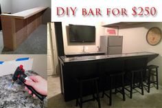 Build your own bar with faux granite countertops! Easy and saves a ton of money!!! DIY