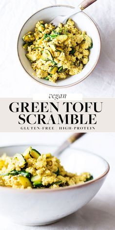 This very green tofu scramble is exactly what it sounds like! It's a high-protein vegan breakfast scramble that's loaded with green vegetables. It's a nutritious breakfast option that can be made ahead for morning nutrition on-the-go. #vegan #plantbased #glutenfree High Protein Vegan Breakfast, Nutritious Breakfast, Vegan Protein, Tofu Scramble, Vegan Nutrition, Breakfast Options, Fresh Vegetables, Fried Rice, Glutenfree