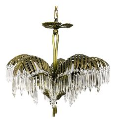 Palm Frond and Crystal Chandelier Coffee Market, Palm Fronds, Chandelier, Ceiling Lights, Crystals, Vintage, Design, Home Decor, Candelabra