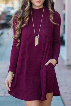 Solid Color Mock Neck Long Sleeve Pockets Dress