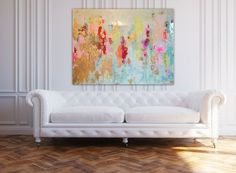 "Sold!! Acrylic Abstract Art Large Canvas Painting Blue, Pink, Gold, Pastel, Ombre Glitter with Glass and Resin Coat 36"" x 48"" real gold leaf"