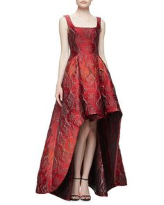 Sleeveless Square-Neck High-Low Jacquard Gown, Fantasy Red by Alberta Ferretti at Bergdorf Goodman.