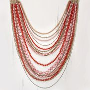 #coral #necklace  multi-strand bib necklace with dyed shell, coral-colored beads + layers of unique chains  N026  $138  http://valeriesoule.chloeandisabel.com