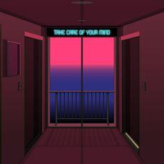 """by 221 "" Vaporwave, Pixel Art, Neon Rose, Neon Bleu, 8 Bits, Decoration Originale, Aesthetic Art, Digital Illustration, Concept Art"