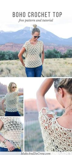 Combine the breezy Canyonlands boho crochet top with a bandeau or cami, a pair of well-worn jeans and a free spirit for a perfect bohemian summer look! Free crochet pattern using the Open Fan stitch. via @makeanddocrew