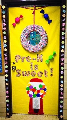 Class door Teacher appreciation week or spirit week.  Candy themed. Pre-k is sweet!  Gumball machine, jelly bean letters, 3D candy, lollipop wreath. Classroom door ideas.