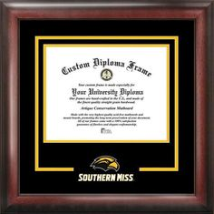 Southern Miss USM Matted Diploma With Mahogany Frame