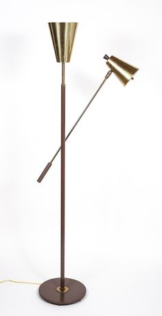 Gerald Thurston; Brass and Wood One-Armed Torchiere for Lightolier, 1952.