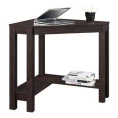 Parsons Corner Desk Drawer - Espresso - Ameriwood Home, Brown Corner Writing Desk, Wood Writing Desk, Corner Desk, Large Desk, Desk Shelves, Shelf, L Shaped Desk, Red Rooms, Desk With Drawers