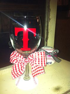 Texas Ranger mlb Wine glass $15     http://www.etsy.com/listing/96278011/texas-rangers-wine-glass