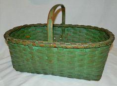 FANTASTIC Antique Oak Splint Apple Basket Original GREEN MILK PAINT From ALABAMA.   Sold  Ebay   140.00