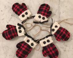 Mitten garland Soft flannel ornament Rustic by TheCountryCrowShop