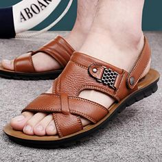 9309df22a813 Mens Sandals And Slides Mens Sandals Leather 13 Brown  shoesoftheday   shoecloset  menssandals Flat