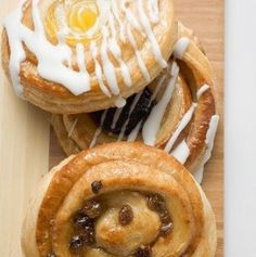 Three Danish Pastries. Apricot. Sultana. Raisin.