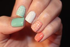 xoxo inspired nails with turquoise and coral!