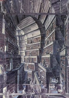 The Library of Babel by Érik Desmazières