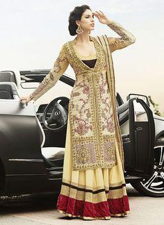Z Fashion Trend: CREAM GEORGETTE DESIGNER PARTY WEAR SUIT