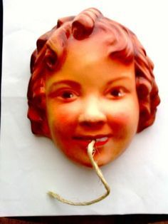 SHIRLEY TEMPLE CHALK WARE STRING HOLDER FROM 1930s ~ RARE ~ORIGINAL CHALKWARE
