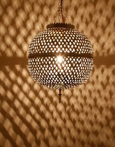 Nickel Plated Round Moroccan Ceiling Light
