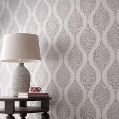 Grey Wallpaper Designs, Silver Wallpaper, Damask Wallpaper, Unique Wallpaper, Textured Wallpaper, Designer Wallpaper, Bedroom Wallpaper, Lowes Wallpaper, Wallpaper Borders