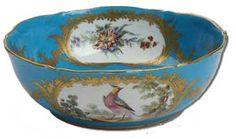 Sevres Porcelain bowl on a bleu royale ground c. 1773.